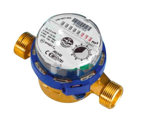 Contador de chorro único, esfera seca, destinado para medir el flujo y volumen de agua fría.