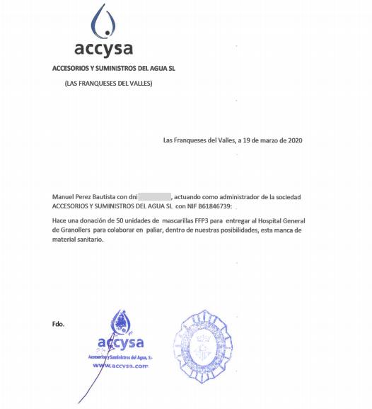 Accysa Donacion Mascarillas Coronavirus Covid