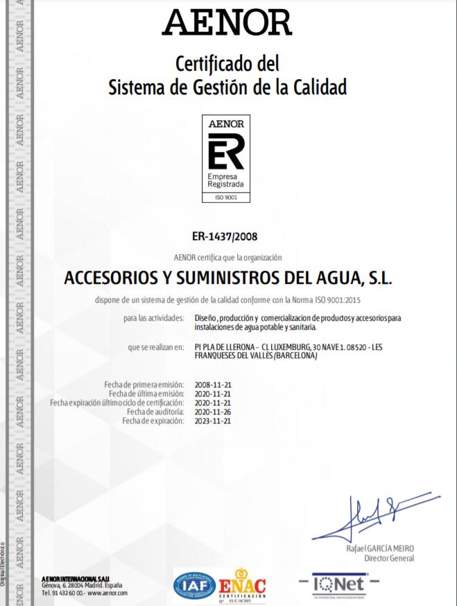AENOR certificado accysa 2021